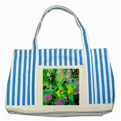 Desert Blooming 1/2 Striped Blue Tote Bag
