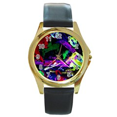 Spooky Attick 5 Round Gold Metal Watch