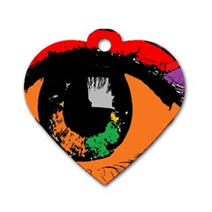 Eyes Makeup Human Drawing Color Dog Tag Heart (two Sides)
