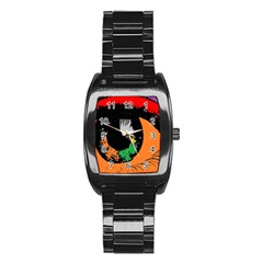 Eyes Makeup Human Drawing Color Stainless Steel Barrel Watch