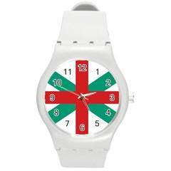 Naval Jack Of Bulgaria Round Plastic Sport Watch (m)