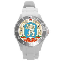 Coat Of Arms Of People s Republic Of Bulgaria, 1971 1990 Round Plastic Sport Watch (l)