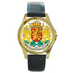 Coat Of Arms Of Bulgaria Round Gold Metal Watch