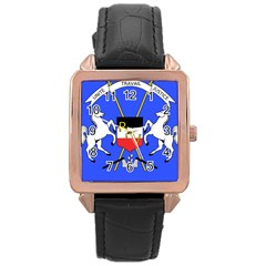 Coat Of Arms Of Upper Volta Rose Gold Leather Watch
