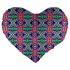 Artwork By Patrick Colorful 34 1 Large 19  Premium Heart Shape Cushions