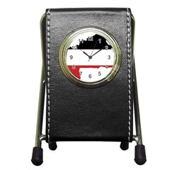 Flag Map Of Upper Volta Pen Holder Desk Clocks