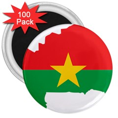 Burkina Faso Flag Map  3  Magnets (100 Pack) by abbeyz71