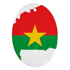 Burkina Faso Flag Map  Oval Ornament (two Sides)