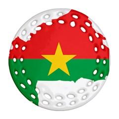 Burkina Faso Flag Map  Round Filigree Ornament (two Sides)