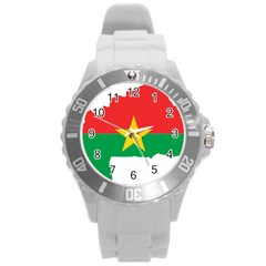 Burkina Faso Flag Map  Round Plastic Sport Watch (l)