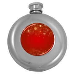 Background Abstract Christmas Round Hip Flask (5 Oz)