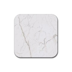 White Marble Tiles Rock Stone Statues Rubber Square Coaster (4 Pack)  by Simbadda
