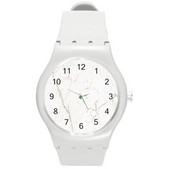 White Marble Tiles Rock Stone Statues Round Plastic Sport Watch (m)