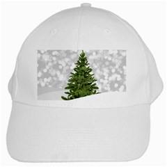 Christmas Xmas Tree Bokeh White Cap by Simbadda