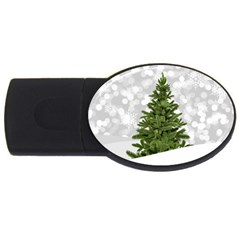 Christmas Xmas Tree Bokeh Usb Flash Drive Oval (4 Gb)