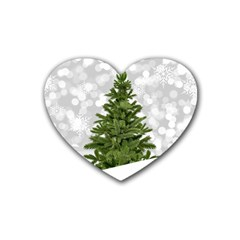 Christmas Xmas Tree Bokeh Heart Coaster (4 Pack)