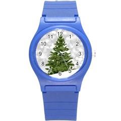 Christmas Xmas Tree Bokeh Round Plastic Sport Watch (s)