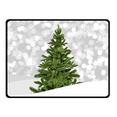 Christmas Xmas Tree Bokeh Double Sided Fleece Blanket (small)