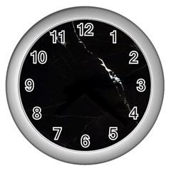 Black Marble Tiles Rock Stone Statues Wall Clocks (silver)