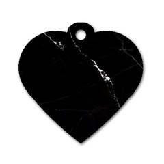 Black Marble Tiles Rock Stone Statues Dog Tag Heart (one Side) by Simbadda