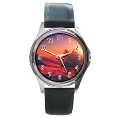 Italy Sunrise Sky Clouds Beautiful Round Metal Watch