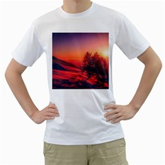 Italy Sunrise Sky Clouds Beautiful Men s T Shirt (white) (two Sided)