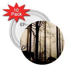 Forest Fog Hirsch Wild Boars 2 25  Buttons (10 Pack)