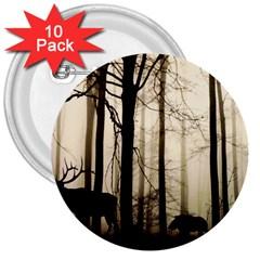 Forest Fog Hirsch Wild Boars 3  Buttons (10 Pack)