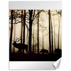 Forest Fog Hirsch Wild Boars Canvas 18  X 24
