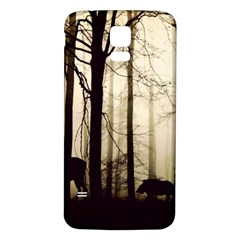 Forest Fog Hirsch Wild Boars Samsung Galaxy S5 Back Case (white)