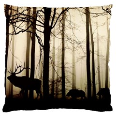 Forest Fog Hirsch Wild Boars Standard Flano Cushion Case (one Side) by Simbadda