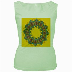 Star Quilt Pattern Squares Women s Green Tank Top