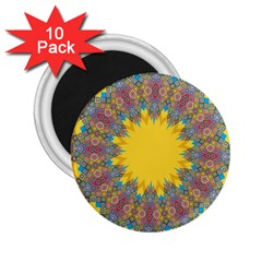 Star Quilt Pattern Squares 2 25  Magnets (10 Pack)