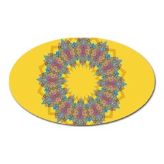 Star Quilt Pattern Squares Oval Magnet