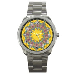 Star Quilt Pattern Squares Sport Metal Watch by Simbadda
