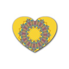 Star Quilt Pattern Squares Heart Coaster (4 Pack)
