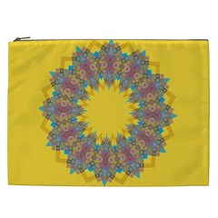 Star Quilt Pattern Squares Cosmetic Bag (xxl)