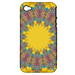 Star Quilt Pattern Squares Apple Iphone 4/4s Hardshell Case (pc+silicone)