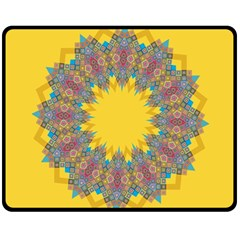 Star Quilt Pattern Squares Double Sided Fleece Blanket (medium)