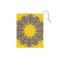 Star Quilt Pattern Squares Drawstring Pouches (small)