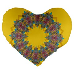 Star Quilt Pattern Squares Large 19  Premium Flano Heart Shape Cushions