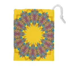 Star Quilt Pattern Squares Drawstring Pouches (extra Large)
