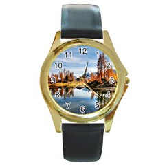 Dolomites Mountains Italy Alpine Round Gold Metal Watch