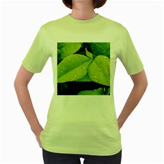 Leaf Green Foliage Green Leaves Women s Green T Shirt by Simbadda