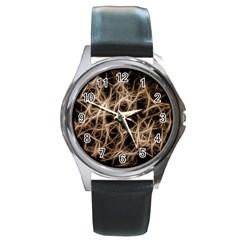 Structure Background Pattern Round Metal Watch