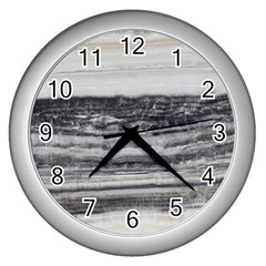 Marble Tiles Rock Stone Statues Pattern Texture Wall Clocks (silver)