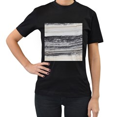 Marble Tiles Rock Stone Statues Pattern Texture Women s T Shirt (black) (two Sided)