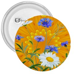 Flowers Daisy Floral Yellow Blue 3  Buttons