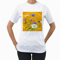 Flowers Daisy Floral Yellow Blue Women s T Shirt (white) (two Sided)