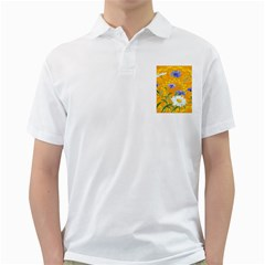 Flowers Daisy Floral Yellow Blue Golf Shirts